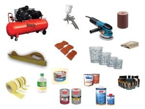Материалы и инструмент для покраски бампера