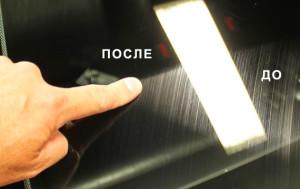 Полировка стекла автомобиля до и после полировки