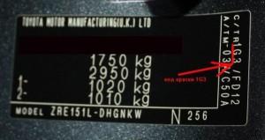 Код краски Тойота по вин - коду