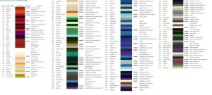 Таблица цветов и коды автоэмалей ВАЗ